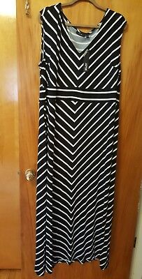 50c264326f9 Apt. 9 Plus Size 1X Maxi Dress Black White Mitered Stripes NWT 16W 18W