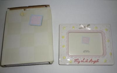Picture Frame Photo Baby Girl  Russ Berrie Earthenware 3 x 5 Ceramic NIB