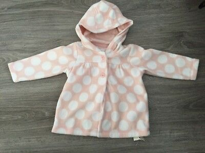 George At Asda Baby Girls Spotty Fleece Hooded Top Jumper - 6-9 Months - Tags On