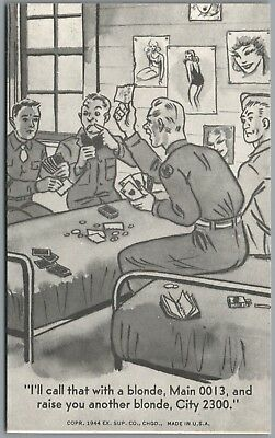 1944 Wwii Military Comic, Soldiers Playing Cards, Pin Ups,ex Sup Co Exhibit Card