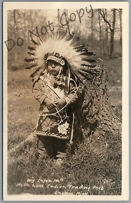 Indian Boy, Onamia, Minnesota, Mille Lacs Trading Post, 1937 Rppc Postcard