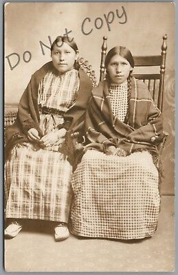 Weatherford, Oklahoma - Two Indian Girls - 1911 P/u Rppc Postcard