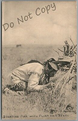 "Indian ""starting Fire With Flint And Steel"" Series 124 J.r. Anderson Postcard"