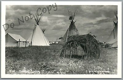 G-10 Indian Sweat Lodge & Teepees - Glacier Studio Rppc Postcard