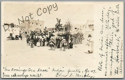 New Mexico, San Domingo Corn Dance Indian Pueblo, 1907 P/u U/b Rppc Postcard