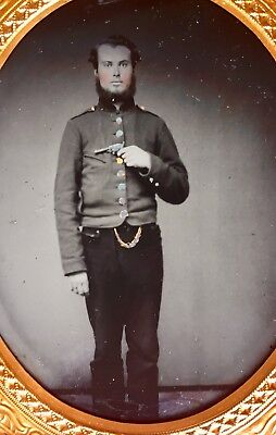 Armed Confederate Ambrotype Of Standing Officer