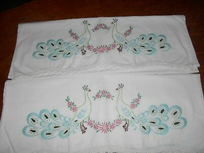 Pair,Embroidered pillow cases with Peacocks and flowers, crocheted edging, nice.