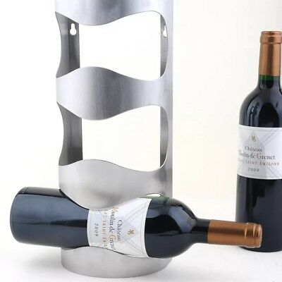 Wine holder wall mounted stainless steel 3 bottle rack