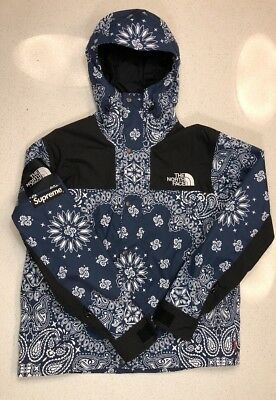 Supreme X The North Face Paisley Bandana Blue Mountain Parka Jacket Sz L Tnf