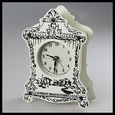 vintage old rare Germany white black metal Mantel Desk Clock