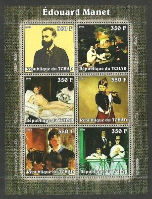 Chad 2002 Art Paintings Manet Music Nudes M/sheet Mnh