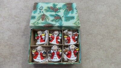 Vintage Collectible Snow Girl Angel Miniature Christmas Ceramic Candle Holders