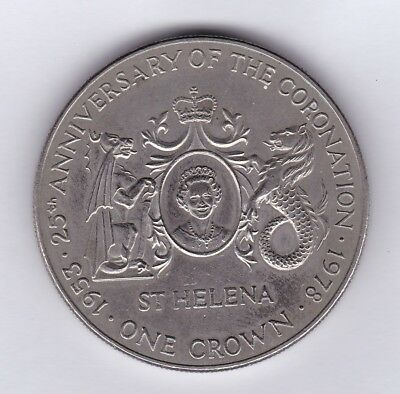 St. Helena 1978 Elisabeth II 25th Anniversary Coronation Crown Coin
