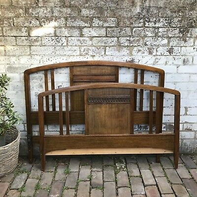 Vintage Antique Beard And Watson Oak Bed Head And End