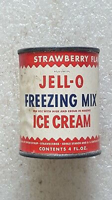 ANTIQUE Vintage JELL-O ICE CREAM FREEZING MIX GENERAL FOODS EMPTY CAN Strawberry