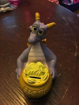 Vintage Disney Figment the Dragon Epcot Center Vinyl Coin Bank 1982