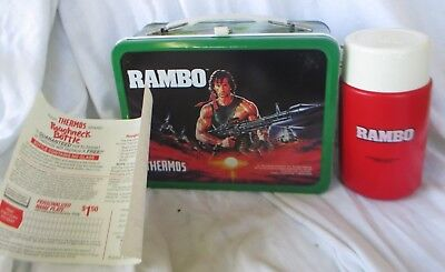 Unused Vintage RAMBO 1985 Stephen J. Cannell  Metal Lunchbox with THERMOS Movie