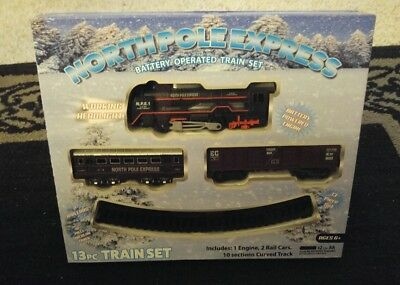 North Pole Express Battery Operated Holiday Train Set 13 piece