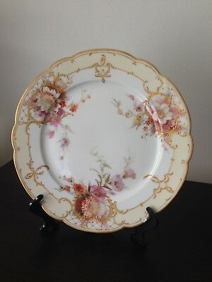 Stunning Kpm Plate With Gold Gilt And Watercolor Flower Paintings