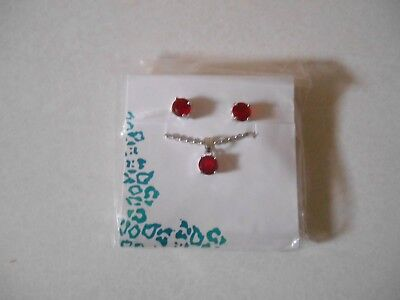 Princess Cruises EFFY Man Made Ruby Pendant with Studded Earrings