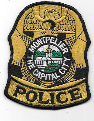 "POLICE PATCH: MONTPELIER THE CAPITAL CITY VERMONT, MEASURES 4 1/2"" x 3 1/2"""