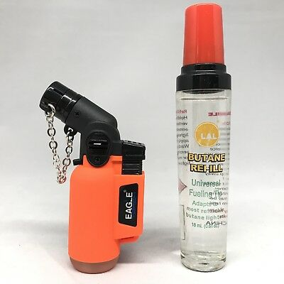 Eagle Neon ORANGE Torch Butane Lighter Windproof Adjustable Flame W/ Refill Lot