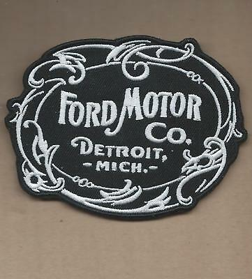 New 3 1/8 X 4 Inch Ford Motor Co B&w Iron On Patch Free Shipping C2