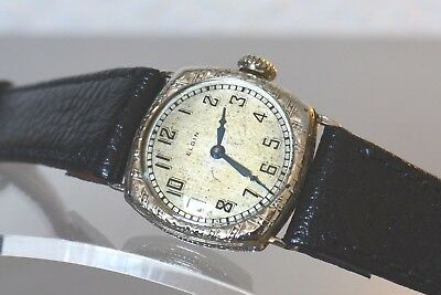 ELGIN, Rare - Art Deco (1925) Ladies, white gold filled watch. Made in USA.