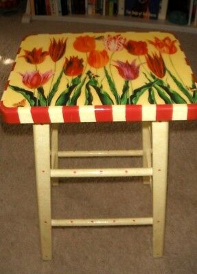 "ANNIE MODICA Retired ""TULIPS"" Kitchen / Bedroom Stool Decoupage Signed/Sticker"