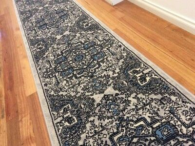 Dalia Grey Blue Hallway Runner Traditional Hall Runner Rug 4 Metres Long