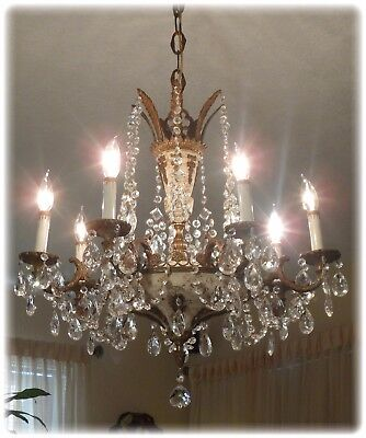 VINTAGE BRASS BRONZE And CRYSTAL LARGE EMPIRE CHANDELIER