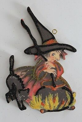 Witch Stirring Cauldron with Cat * Halloween Ornament * Vtg Card Image * Glitter