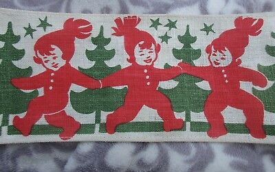 Vintage Christmas Linen Center Piece Children in Red Hats Green Trees Stars Cute