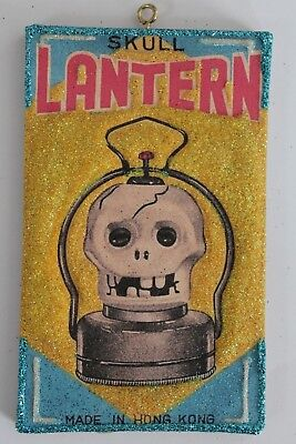 Skull Lantern Box Cover * Halloween Ornament * Vtg Card Image * Glitter