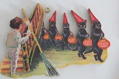 Black Cats in Row * Halloween Ornament * Vtg Card Image * Glitter