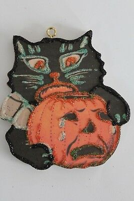 Black Cat with Crying Pumpkin* Halloween Ornament * Vtg Card Image * Glitter