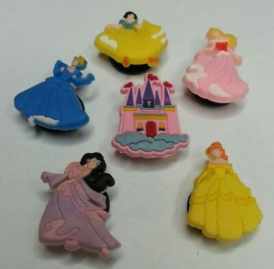 Princess 6PC LOT SHOE CHARMS, FOR JIBBITZ CROC SHOES HAIR BOW CENTERS PARTY GIFT