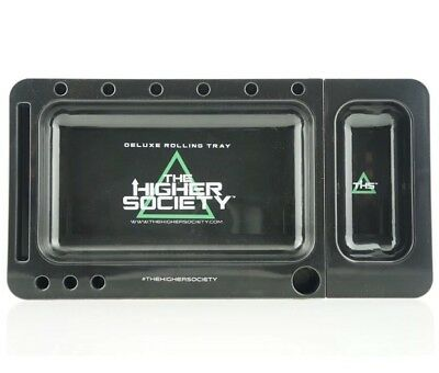 THE HIGHER SOCIETY Premium Tobacco Rolling Tray 2.0 w/ Slide-out Black Blunt