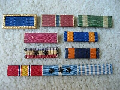 Assortment Of Vintage Ribbon Bars, Wide And Narrow, Pinback And Slide On