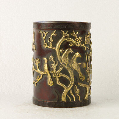 Chinese Antique Copper Gilt brush pot Carved Birds&tree  GL006