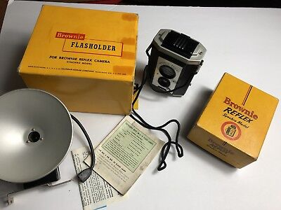Vintage Eastman Kodak Brownie Reflex Synchro Model Camera in Box with Brochures