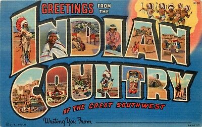 New Mexico Curtiech Postcard Large Letter Greetings From Indian Country, Az & Nm