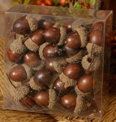 "Country 'Acorns"" Decorative in a Box Brown Fall Decor Primitive New"
