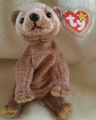 """TY Beanie Baby ~ PECAN 7.5"""" Bear ~ NEW with Tags Retired with PE Pellets"""
