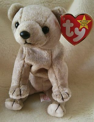 """TY Beanie Baby ~ ALMOND 7.5"""" Bear ~ NEW with Tags Retired with PE Pellets"""