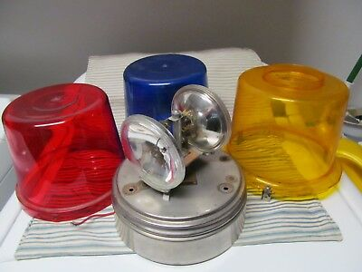 Vintage Multi Task Emergency Rotating Light Red,blue & Yellow. Tested, Works!!!