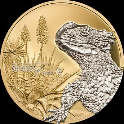 2018 Shades of Nature Sungazer Lizard Silver Coin - $5 Cook Islands