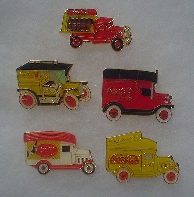 5 Coca Cola Old Time Delivery Truck Pins ~ Made in China