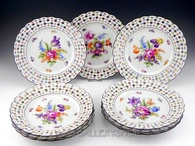 "Schumann Bavaria Germany FLOWERS DRESDEN RETICULATED 10"" CABINET PLATES Set of 9"