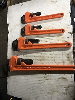"Lot Of 4 Rigid Pipe Wrenches   18"",14"",10"",10"""